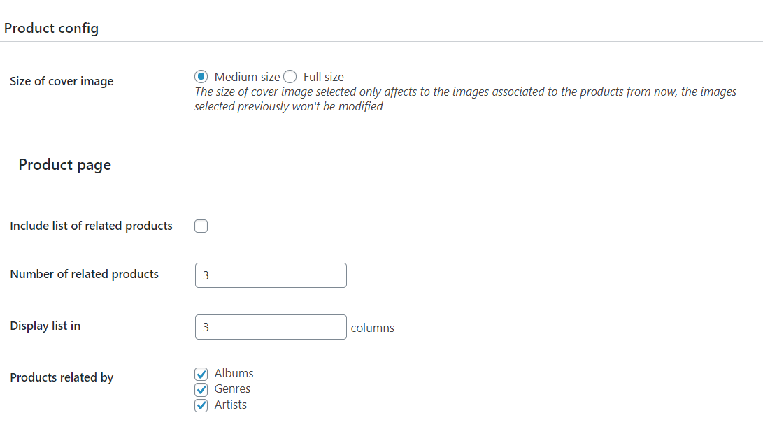 Products Pages Settings
