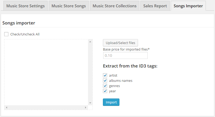 Music Store Importer Section